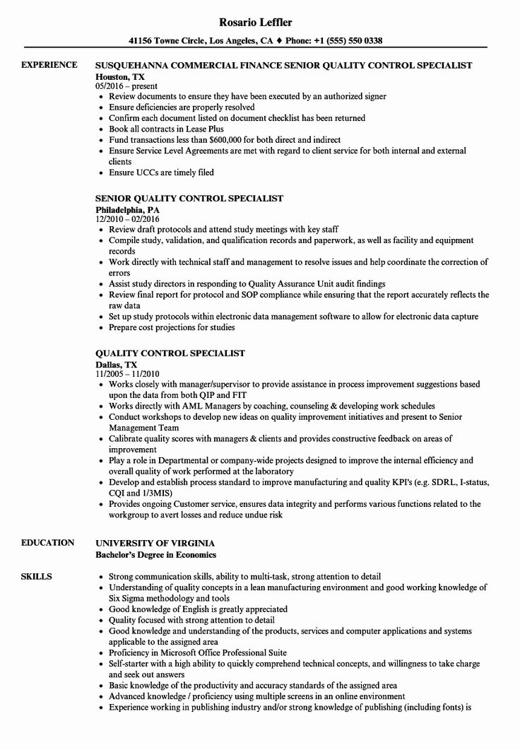 Quality Control Resume Examples New Quality Control