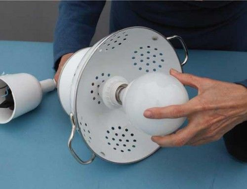 DIY Pendant Lamp Of Enameled Colander (looks so cool as the only light in a room)