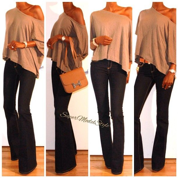 off the shoulder and flared jeans