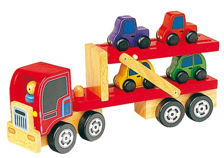 Load and drop-off cars with this charming wooden car transporter. The top tier lowers to form a handy ramp for toy cars to drive on and off of.