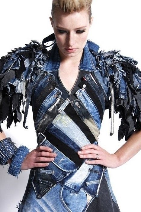 Wow... Recycled Denim!!... OK.. maybe not this but it really gives me an idea for something not run of the mill jean jacket type of sewing experiment.