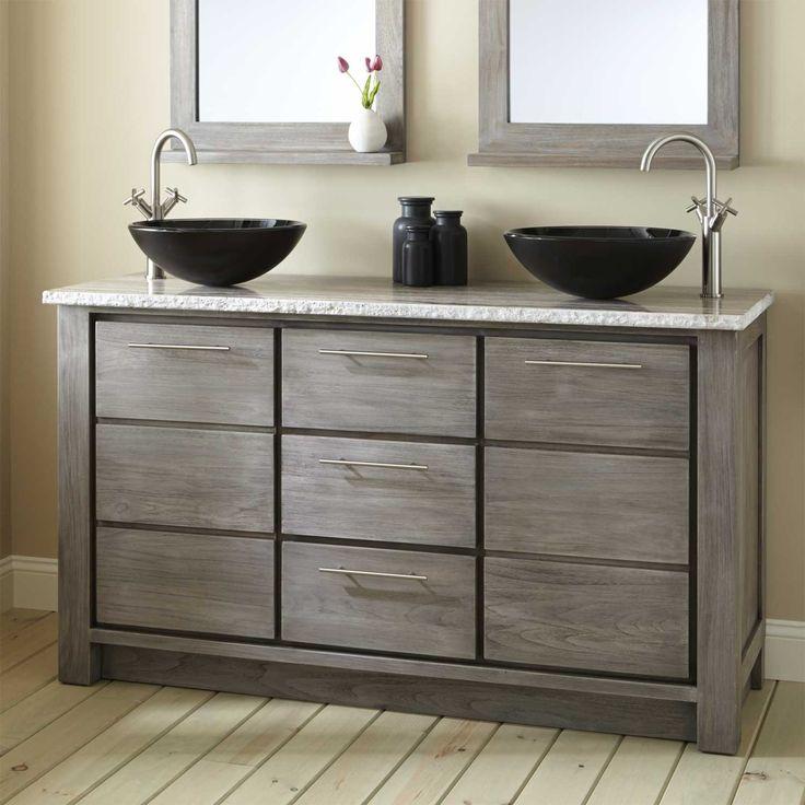 Beautiful 60 Venica Teak Double Vessel Sinks Vanity Gray Wash Bathroom With Regard To  Size 1500 X. DoppelbadezimmerwaschtischeBadezimmer Eitele SchränkeBadezimmer  ...