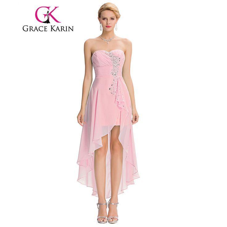 Alto basso abito da damigella d'onore 2017 breve posteriore lungo anteriore prom abito senza spalline perline paillettes rosa turchese abito da damigella d'onore grace karin