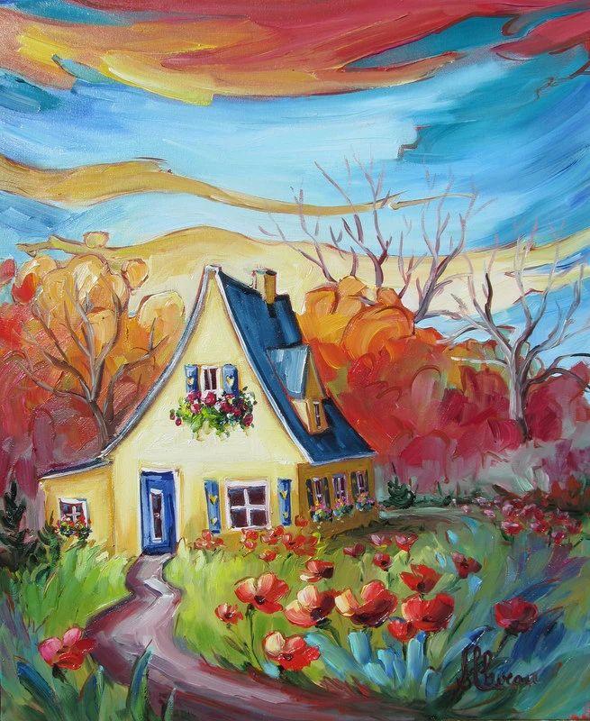 Aperçu de la production de Suzanne Claveau, artiste peintre: peintures, toiles, acryliques, huiles, miniatures, illustrations, foulards peints et dérivés.