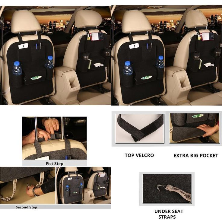 Back Car Seat Organizer Mat Car Rear Storage Pockets Kick Protector BLACK 1pc #MBaby