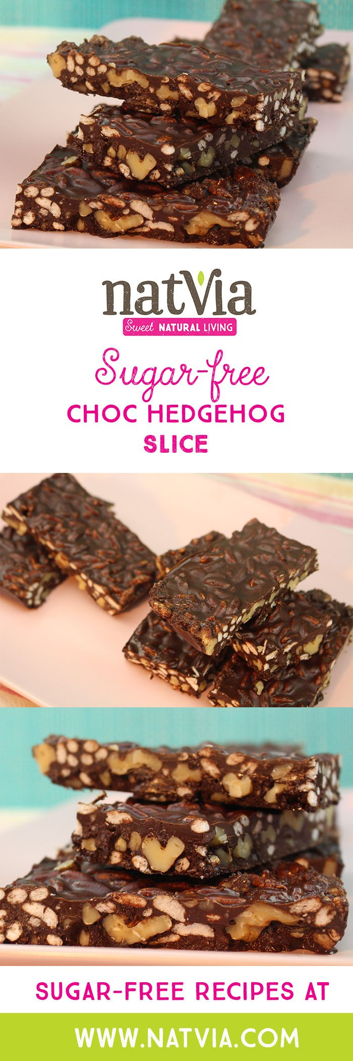 A classic #chocolate hedgehog #slice made #sugarfree, but wait, it is also #vegan! Yes indeed another sugar free vegan #recipe from #Natvia.