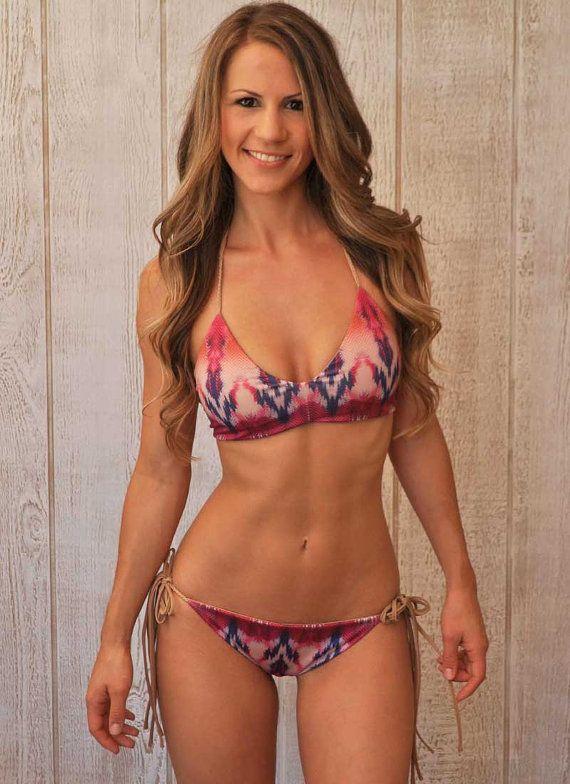 REVERSIBLE Halter Top Bikini w/ hand-braided details ...