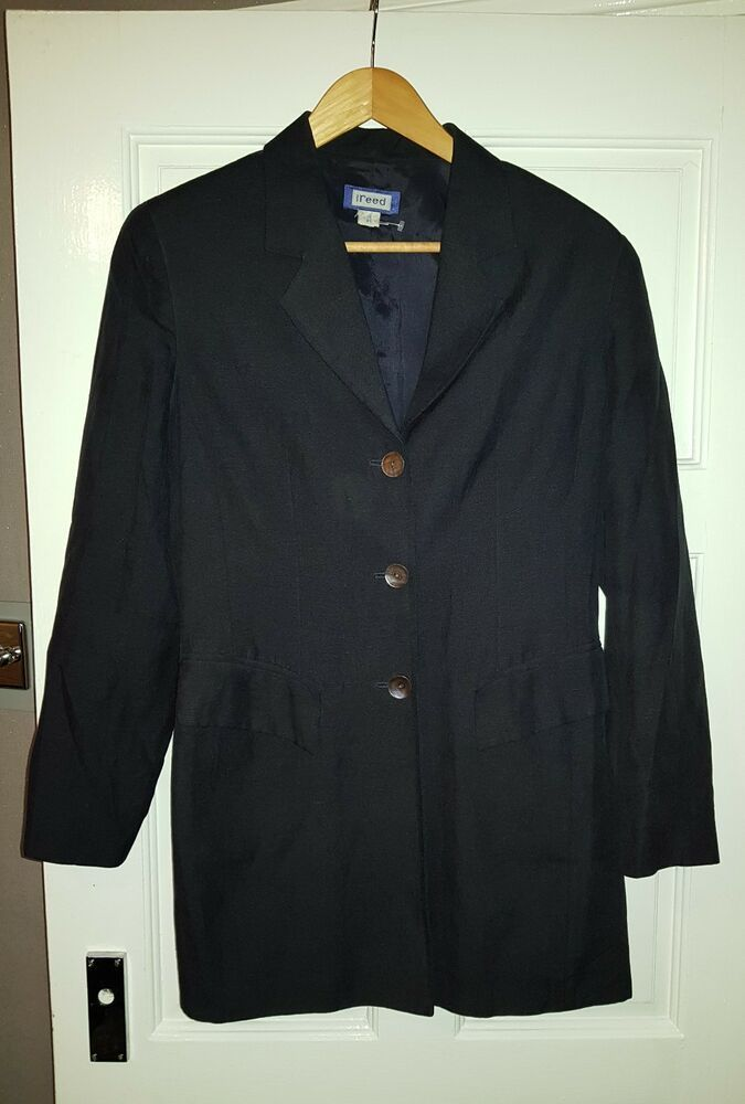 Advertisement Ebay Women S Black Austin Reed Blazer Jacket Size 10 55 Silk 45 Linen With Images Blazer Black Linen Pants Blazer Jacket