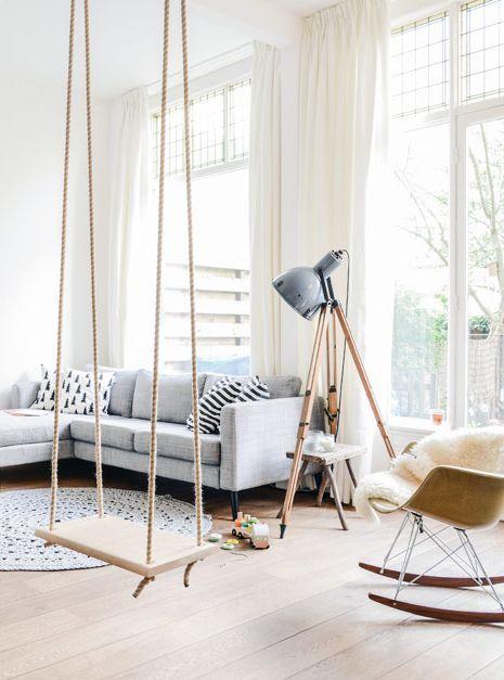 Swing, schommel, interior, interieur, binnen, inside, not my picture. Je leest het op http://www.stijlhabitat.nl/een-schommel-in-huis/