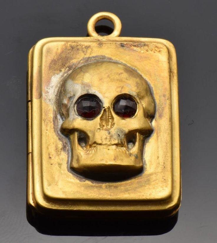 Amazing Victorian gild silver MEMENTO MORI SKULL locket pendant.Very rare!                                                                                                                                                                                 More