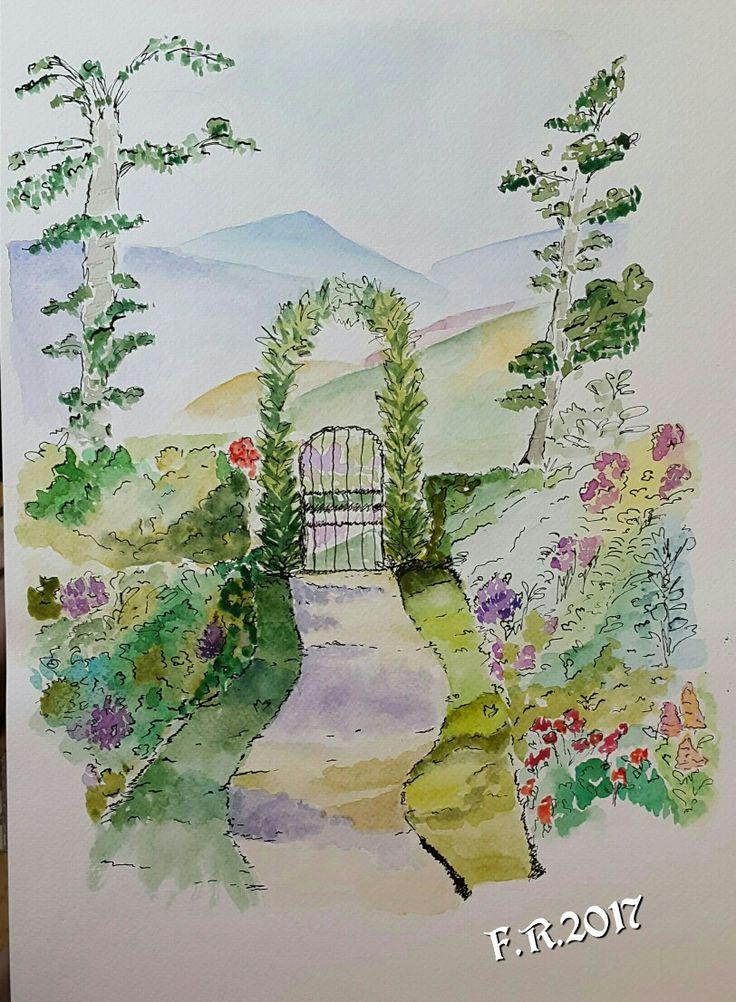 My Watercolor and Black Ink Inspired Beatrix Potter realized by Francesca Rocchi - Acquerello ispirato a Beatrix Potter di Francesca Rocchi - Secret Garden - Giardino Segreto
