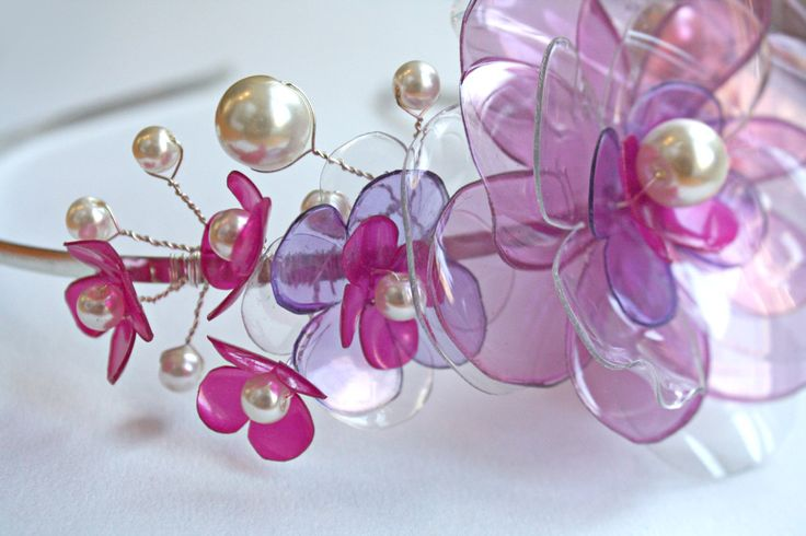 Plastic Bottle Headband, Upcycled Tiara, Pink Bridesmaid Accessory, Wedding Headpiece by ENNA by EnnaJewellery on Etsy