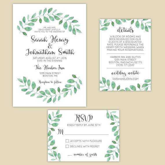 Printable boho wedding invitation suite! Perfect for a garden wedding! Includes Invitation, RSVP Card and Details card. Design by mariaddesigns.com #invitation #boho #wedding #bohowedding #garden #printable #custom  #design #diy #mariaddesigns