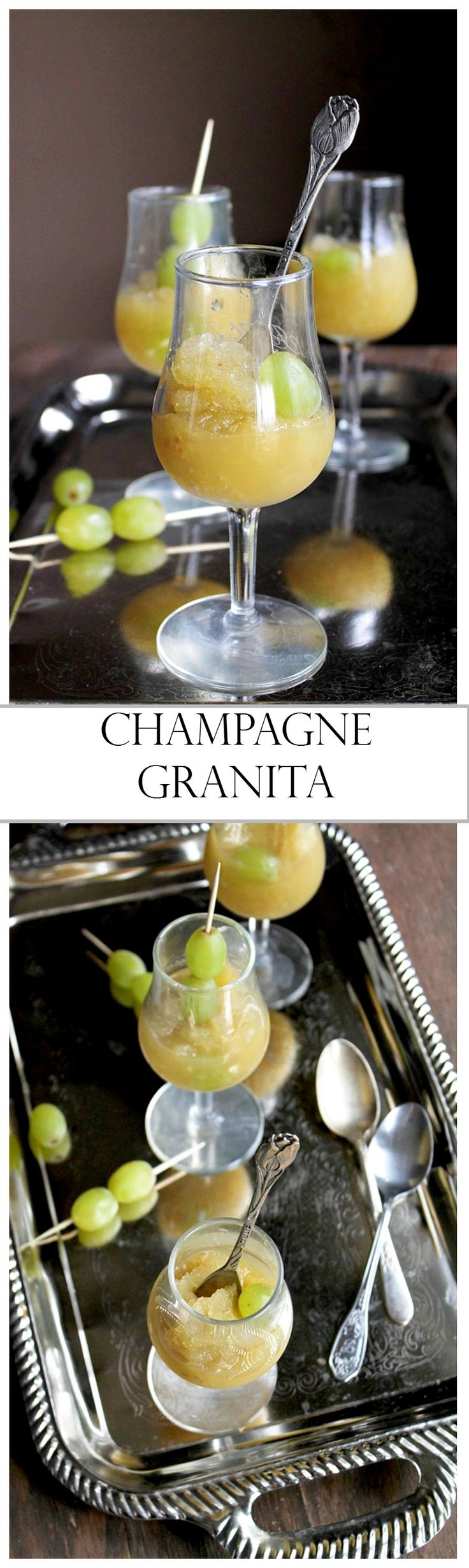 A refreshing treat made with Champagne, grapes, lemon juice, and sugar.