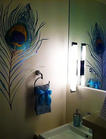 The Phoenix Dream Center Design Challenge Continues until June 15. The peocock feature hand painted in the bathroom is a artist image meant to represent the all seeing eye of god!    Vote today and everyday  Suite 401.The Wings of Love bt Overstreet Interiors. Thx!!!!!