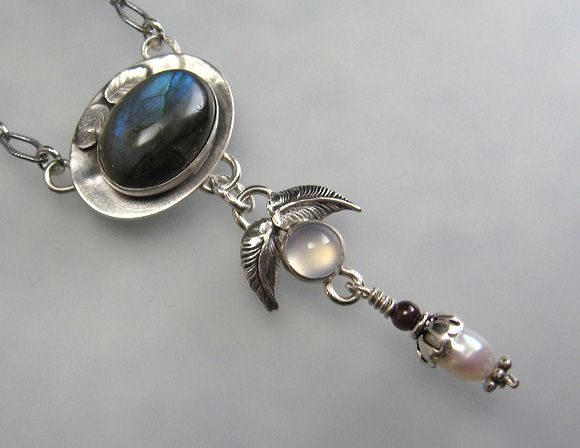 """Labradorite necklace with white moonstone and pearl handcrafted from sterling silver  - """"Mystic Forest Lavaliere Necklace"""" handmade by Kryzia Kreations"""