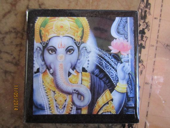 Ganesh with Lotus. ceramic tile coasters. by ArtichokesandRoses