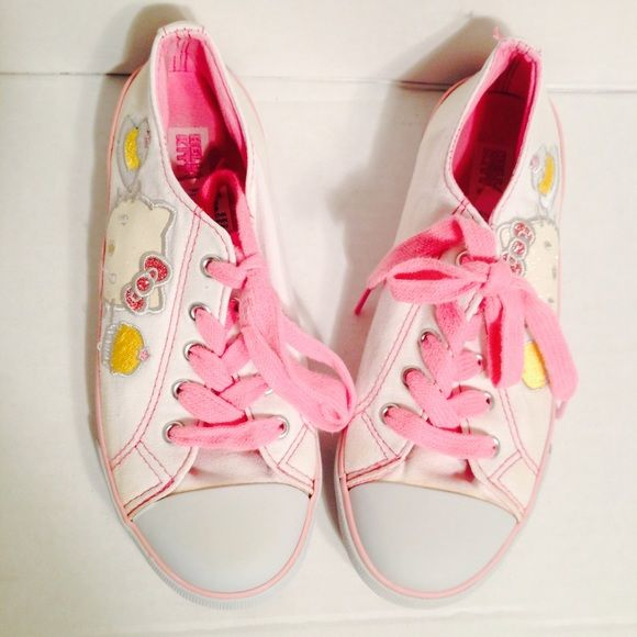 """""""Hello Kitty"""" Girl Tennis Shoes Pink & White """"Hello Kitty"""" Girl Tennis Shoes. Clean, in good shape. Really cute!! Size: 5. Hello Kitty Shoes Sneakers"""