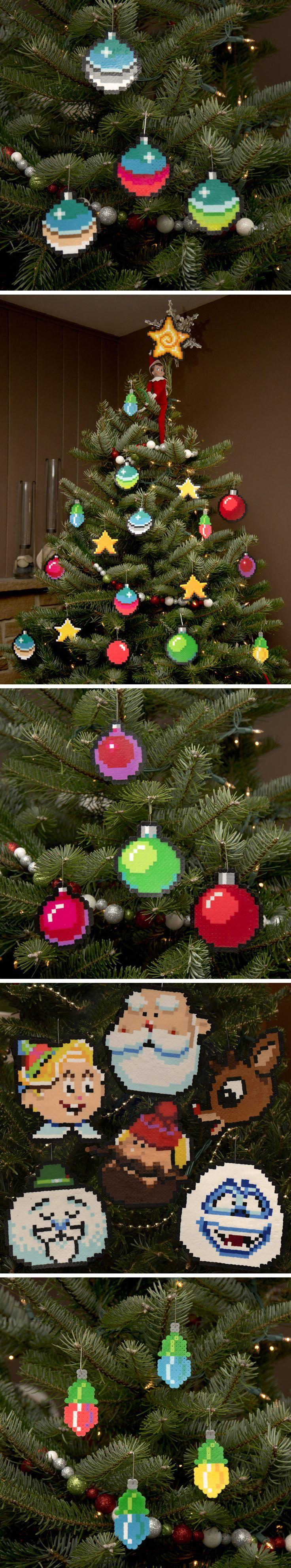 Chrome 8 bit Pixel Ornaments (Pixel Art Christmas Lights)