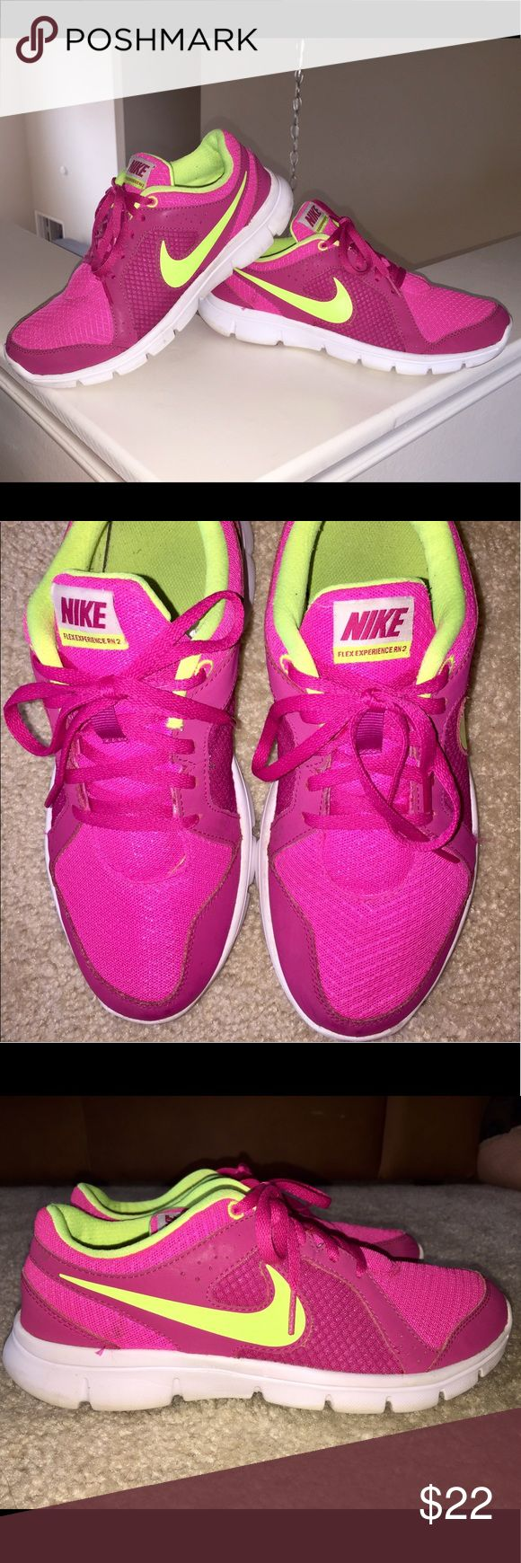 Cute Nike Tennis Shoes Pink & Neon yellow Nike Tennis Shoes. These shoes will add a pop of color to any of your actual be wear. These are labeled as size 6.5Y which is a woman's size 7.5 (please see size chart pic). Nike Shoes Athletic Shoes