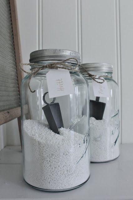 Norgesglass til oppbevaring av vaskepulver. Av Mias Interiør