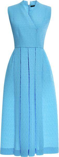 Emilia Wickstead Jully Pleated Cloquã Midi Dress in Blue - Lyst