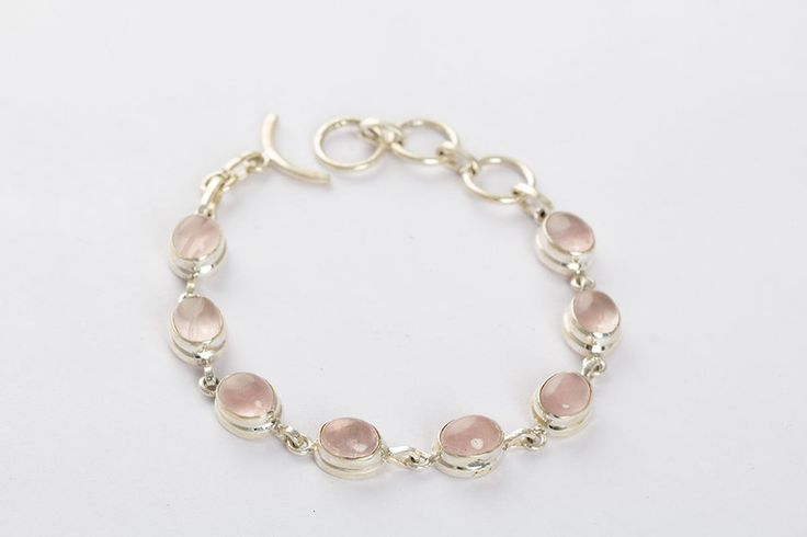 Silver Bracelets – Handmade Rose Quartz Silver Bracelet  – a unique product by ArtisanJewellery on DaWanda
