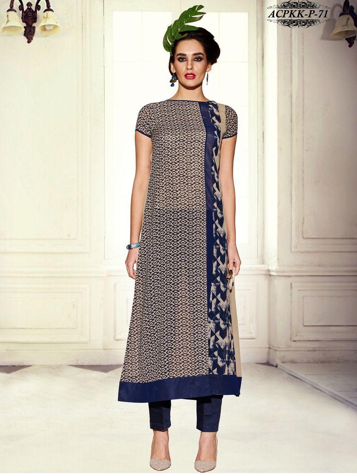 #Stunning #Beige #Color #Printed #Georgette #Kurti    www.glamyshop.com