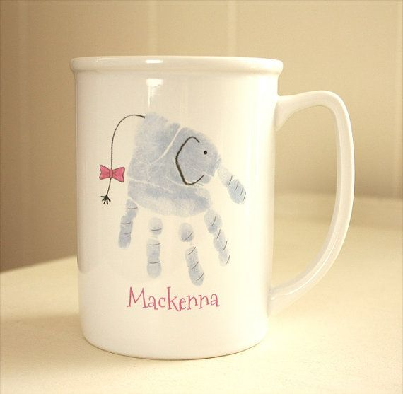 Your child's actual prints on a mug with special message. Elephant, Mother's Day, Father's Day, New mom, new dad, hand and footprint art