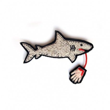 "Large hand-embroidered ""Man-eater Shark"" brooch"