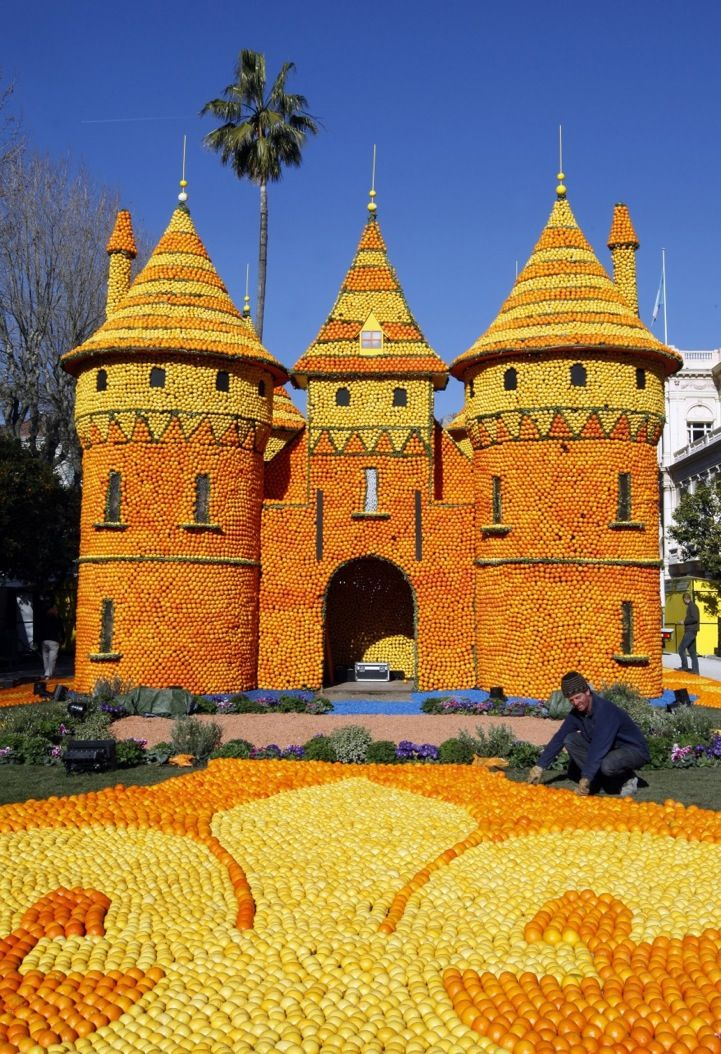 Fete du Citron in Menton, France - sculptures created with oranges and lemons.  Imagine the scent!