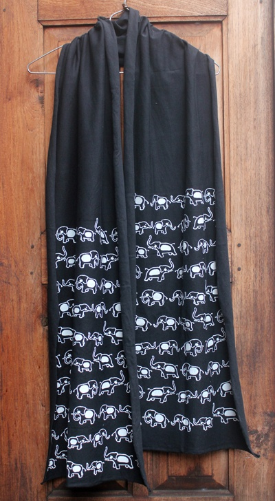 Handprinting syal, elephant pattern