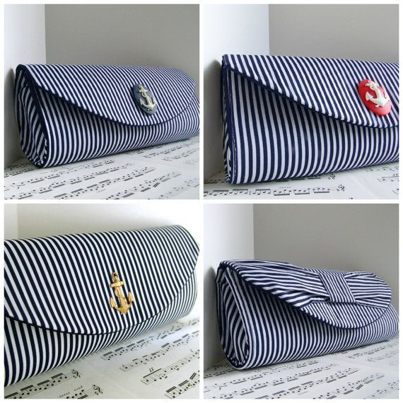 RESERVED for Kawonna. Navy blue nautical clutch with embellishment. Wedding clutch. Made to order on Etsy, $39.00 AUD