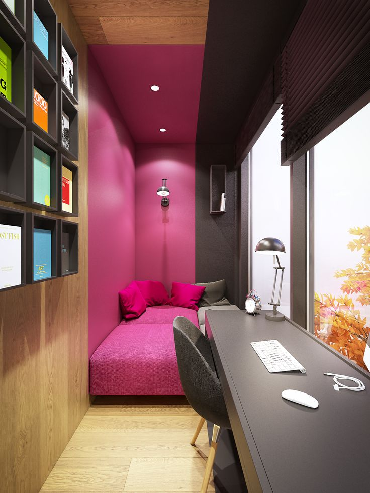 House interior. Warsaw, Poland. Little home office with patio view. Design - Plasterlina