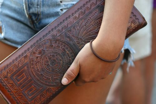 etched leather aztec clutch