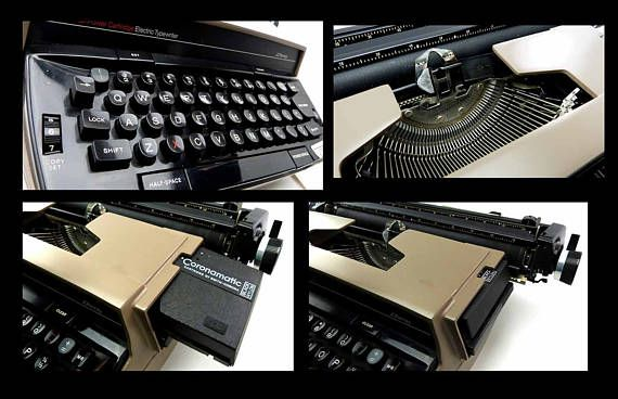 Retro vintage portable electric typewriter ready for use or display. Long black industrial electric cord with standard 2-prong plug. Uses modern Smith Corona Cartridge Ribbon. The original textured slip lock case & the instruction manual, warranty cards in plastic sleeve included.  Manufacturer: JC Penny Corp., 1980. Model: 1180 Elite This was the first issue of this style of electric typewriter.  Color: Brown taupe Style: Retro Industrial Office Decor  Measurements Typewriter: 17 x13 x 5...