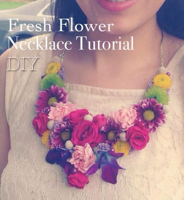So Creative! DIY fresh flower necklace tutorial. White lace dress. Great for a bridal shower, birthday celebration or girls night out!