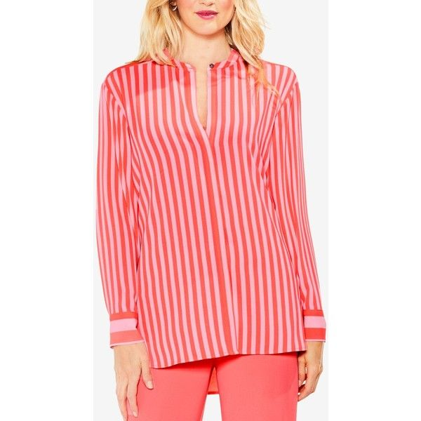 7276b6c7d4c5ca Vince Camuto Striped Band-Collar Tunic Shirt ( 99) ❤ liked on Polyvore  featuring