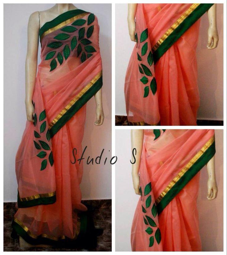 Peach Kota saree with leaf appliqué work