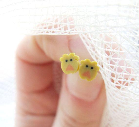Easter Chick Earrings Cute Chicken Studs by LePetitParadisPerdu