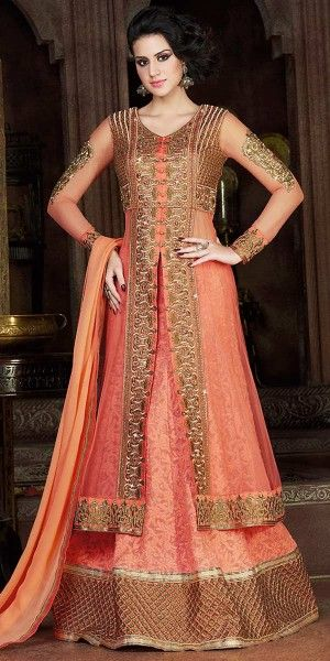 Precious Orange Net Embroidery Gown.