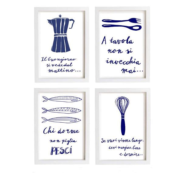 Italian kitchen art  blue white quote food Instant download