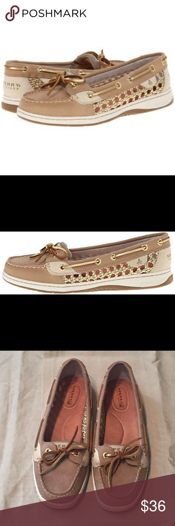 SPERRY Top Sider Angelfish gold cane boat shoes These SPERRY Top Sider boat/deck shoes are practically new! Style is Angelfish gold cane. Size 6.5 Sperry Top-Sider Shoes