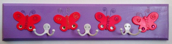 Children's Coat Rack Hot Pink Butterfly Purple Coatrack by KKRacks, $35.00
