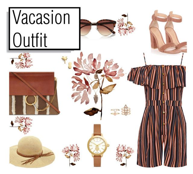 """""""Vacasion Outfit"""" by aggpap3 ❤ liked on Polyvore featuring River Island, WearAll, Gianvito Rossi, Chloé, Tory Burch, Seoul Little, Accessorize, outfit, brown and outfitidea"""