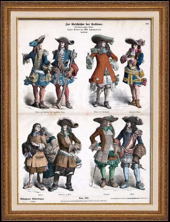 French Costume - French Fashion - Military Uniform - French Infantry Officer - Musketeer and Harquebus - France (17th Century - XVIIth Century)