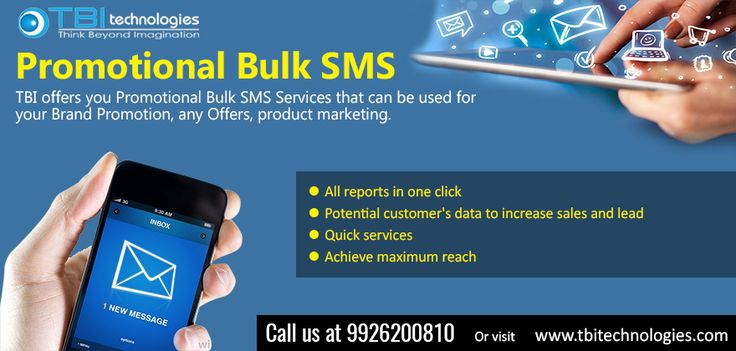 Promotional Bulk SMS is one of the best marketing medium where You can promote your brand, product or any offer in a second with a single click by sending bulk sms.  TBI offers you Promotional Bulk SMS Services that can be used for your Brand Promotion, any Offers, product marketing.
