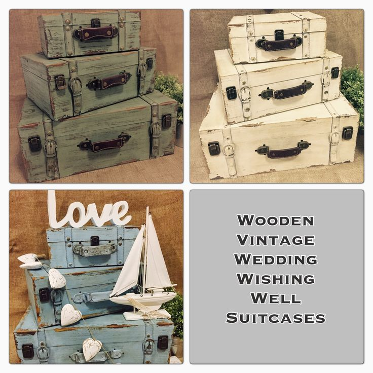 Wooden vintage shabby chic beach vintage wedding wishing well box suitcase