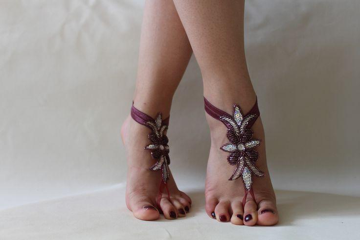 Plage Barefoot Sandales strass mariage ruban couleur prune Reliure, sandales, chaussures de mariage, bijoux de pied, cheville : Autres accessoires par passionis