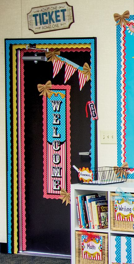 Add the Carnival Welcome Banner to the front door of your classroom.  Use coordinating border trim for even more fun.  Great for a carnival themed birthday party too!